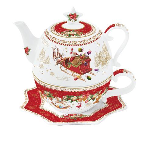 Teiera Tea for one con piattino Christmas memories