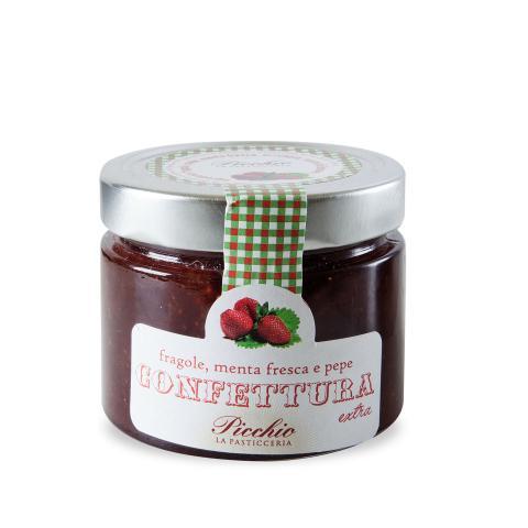 Confettura fragole, menta fresca e pepe