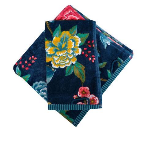 Set asciugamani a fiori blu