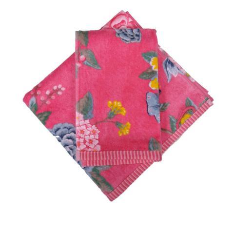 Set asciugamani a fiori rosa