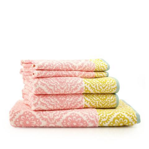 Asciugamano bagno set 2 pezzi rosa e giallo
