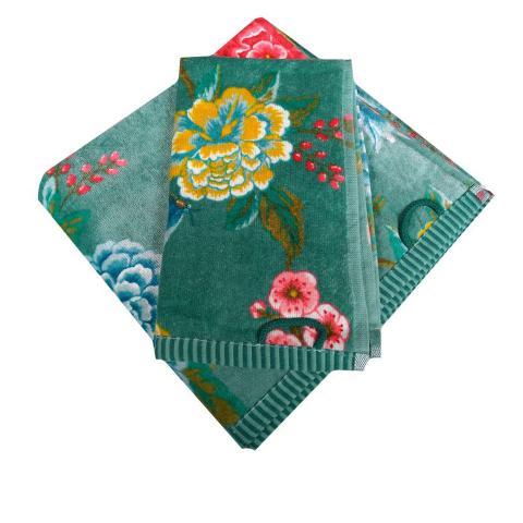 Set asciugamani a fiori verde